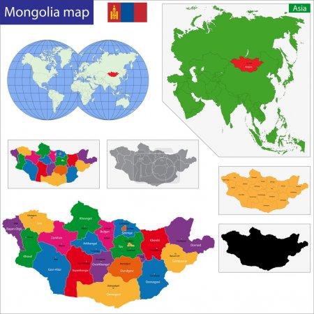 Illustration pour Carte des divisions administratives de Mongolie - image libre de droit