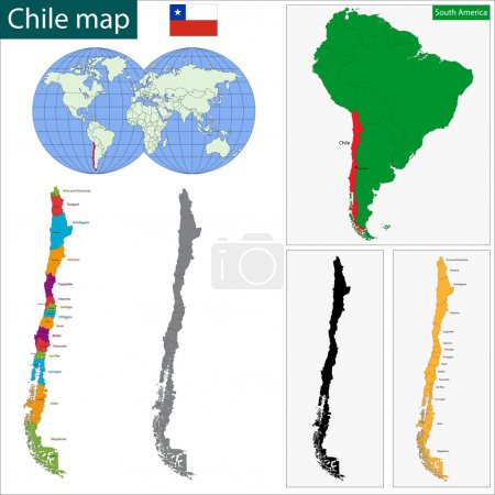 Illustration for Map of the Republic of Chile with the regions colored in bright colors and the main cities - Royalty Free Image