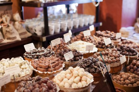 Chocolate sweets in the shop