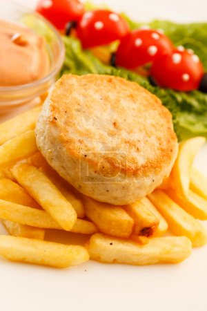 French fries with chicken cutlet