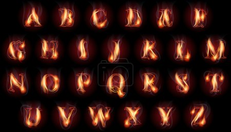 Illustration for Set of fire burning latin alphabet letters - Royalty Free Image
