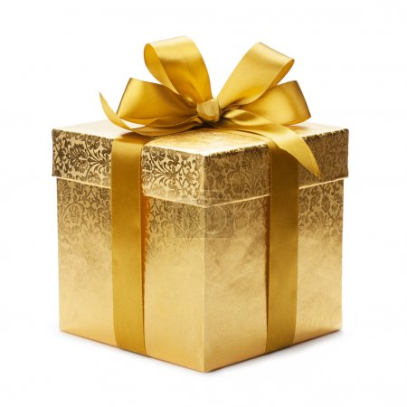Photo for Gift box and gold ribbon isolated on white background - Royalty Free Image