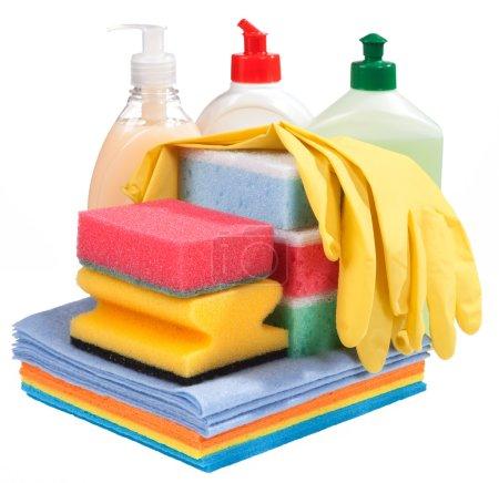 Sponges, bottles of chemistry and gloves