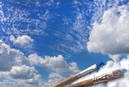 Brush paint a beautiful sky.