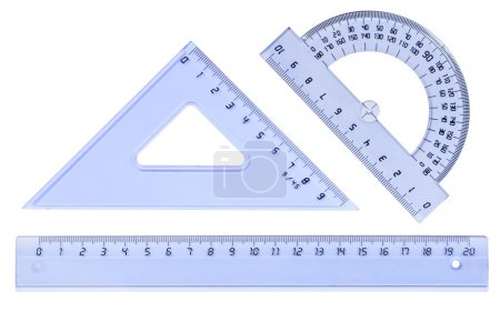 Plastic ruler, protractor, triangle, isolated on white backgroun