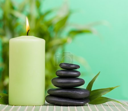 Zen basalt stones and candle