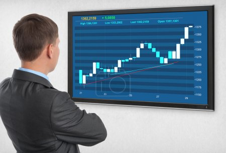 Businessman checking stock market on monitor