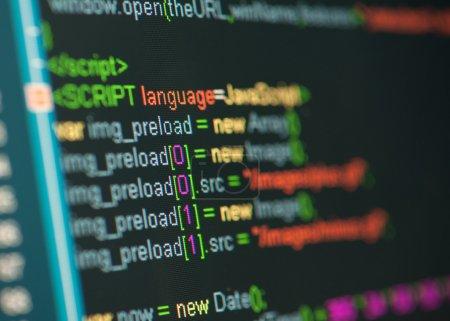 Photo pour Code HTML sur l'écran lcd - image libre de droit