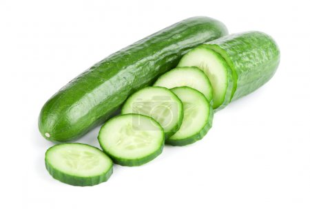 Photo for Cucumber and slices isolated over white background - Royalty Free Image