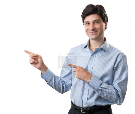Photo for Businessman pointing. Isolated over white background - Royalty Free Image