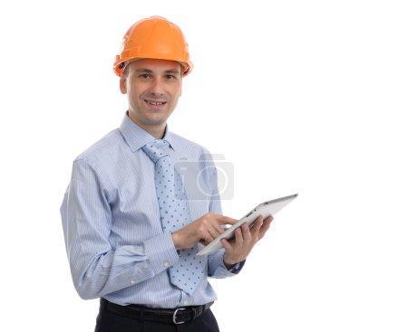 Photo pour Heureux jeune homme d'affaires architecte sur fond blanc - image libre de droit