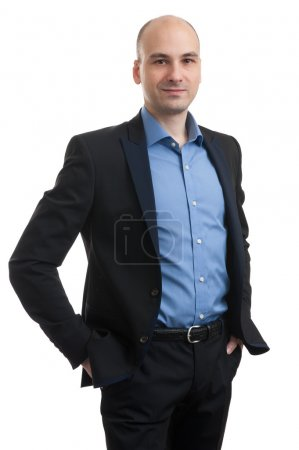 Photo for Portrait of a business man isolated on white background. Studio shot. - Royalty Free Image