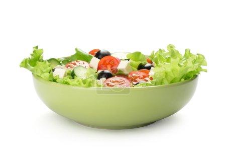 Photo for Fresh vegetable salad isolated on white background - Royalty Free Image