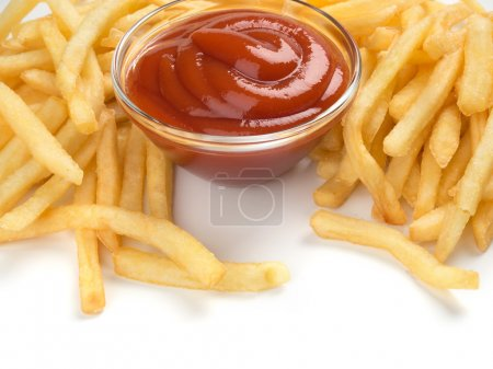 Photo for French fries with ketchup on white - Royalty Free Image
