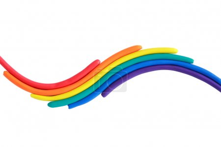Photo for Various color plasticine as wave on white background. Isolated with clipping path - Royalty Free Image