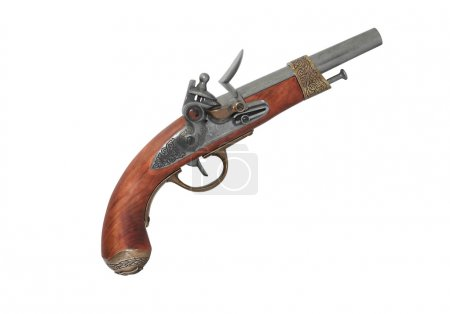 Photo for Elegant vintage pistol on white background. Clipping path is included - Royalty Free Image