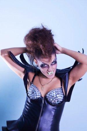 Portrait of girl in exotic costumes. indoor shot...