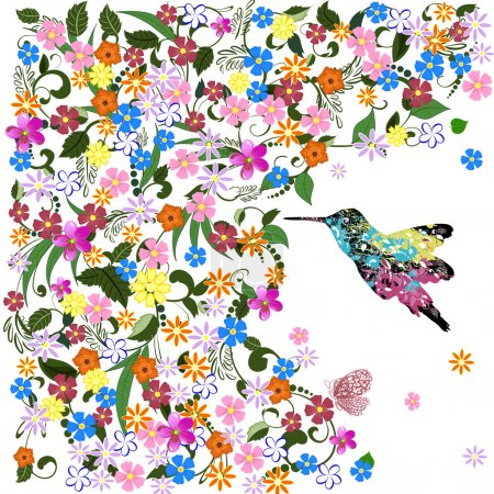 Illustration for Art grunge floral pattern with bird - Royalty Free Image