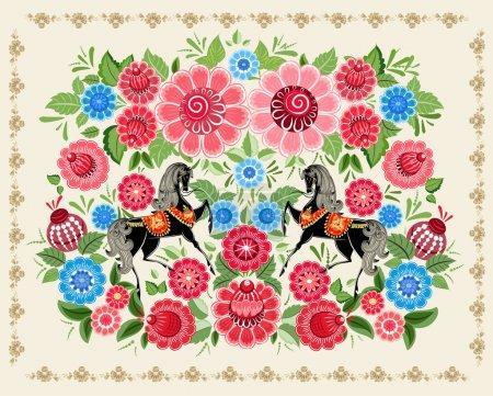 Fairy horses in flowers