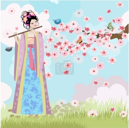 Illustration for Beautiful Oriental girl near cherry blossoms - Royalty Free Image