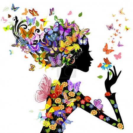 Illustration for Girl fashion flowers with butterflies - Royalty Free Image
