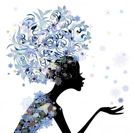 Illustration for Trendy flower girl hairstyle for your design - Royalty Free Image