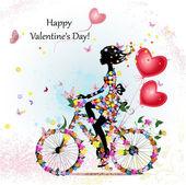 """Постер, картина, фотообои """"женщина на велосипеде с валентинками"""""""