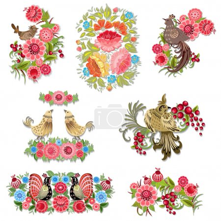 Set of decorative birds with flowers for your design