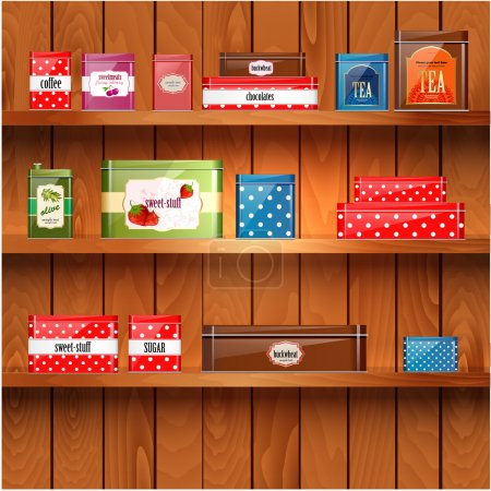 Illustration for Wooden shelves with metal boxes - Royalty Free Image