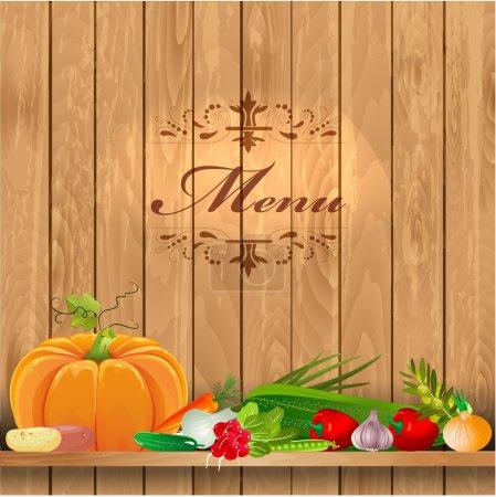 Fresh vegetables on wooden shelves for your design