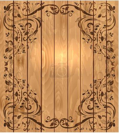 Vintage foliar frame on wooden texture