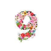 Romantic number of beautiful flowers 9