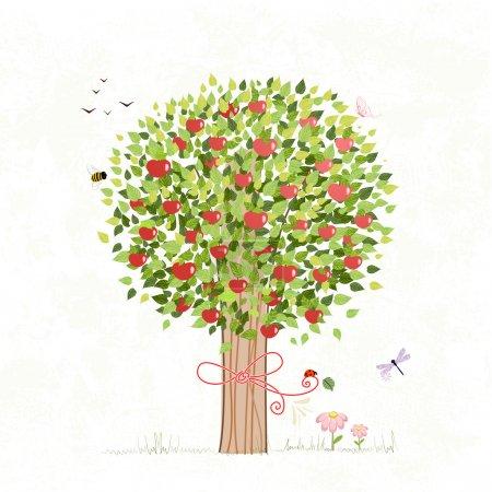 Illustration pour Pommier avec un archet pour votre conception - image libre de droit