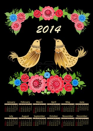 Calendar for 2014 in the folk style khokhloma
