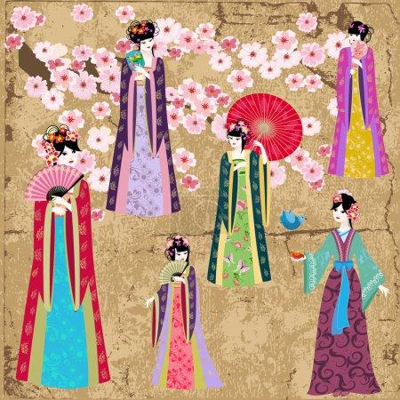 Oriental girl in retro costume...