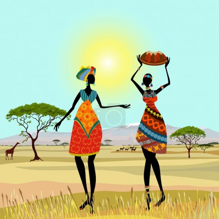 Illustration for African women in mountain landscape - Royalty Free Image