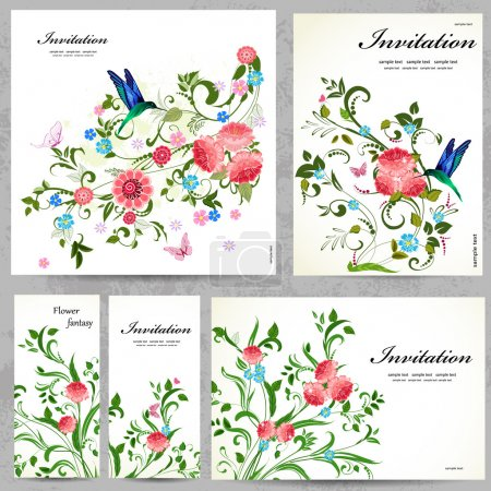 Illustration for Set of floral cards for your design - Royalty Free Image