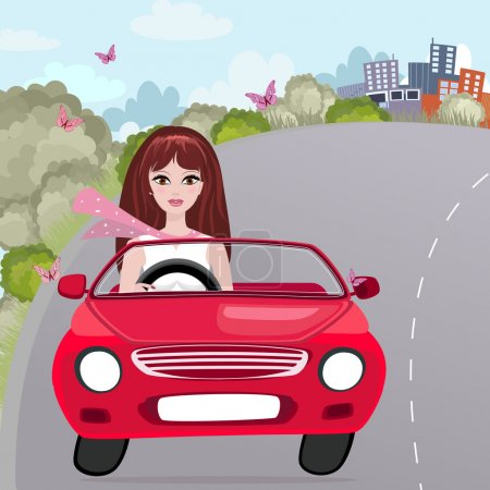Illustration for Girl in a red convertible - Royalty Free Image