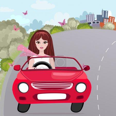 Illustration pour Jeune fille dans une Cabriolet rouge - image libre de droit