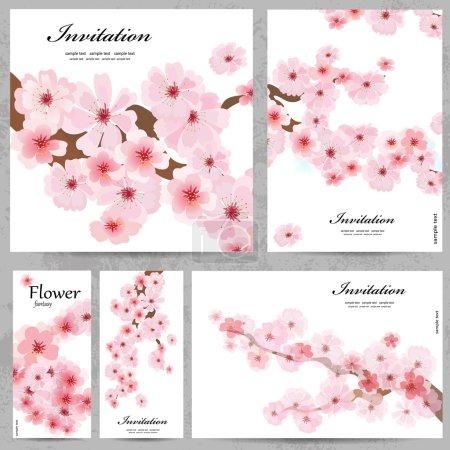 Illustration for Set of floral cards for your design - Royalty Free Image