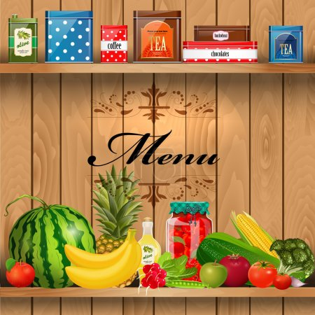 Illustration for Delicious and healthy food on wooden shelves realistic - Royalty Free Image