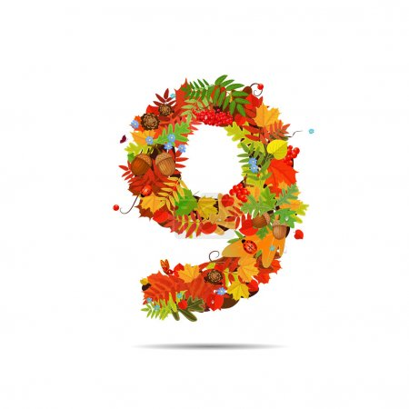 Number from autumn colorful leaves 9