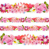 Seamless border of beauty flowers Set