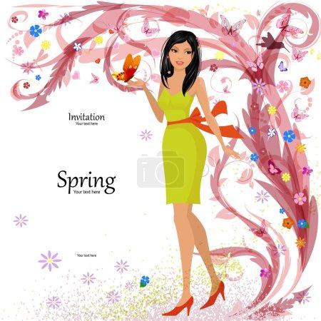 Illustration pour Fashion girl en floral pour votre design - image libre de droit