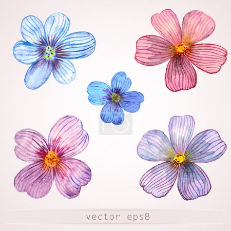 Illustration for Watercolor flowers for design. - Royalty Free Image