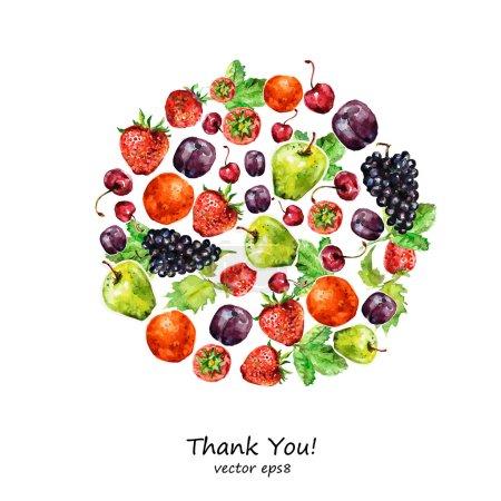 Illustration pour Fruits aquarelle pour la conception . - image libre de droit