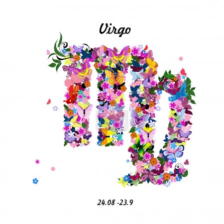 Illustration for Pattern with butterflies, cute zodiac sign - virgo - Royalty Free Image