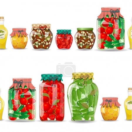 Illustration for Seamless border with preserve food - Royalty Free Image