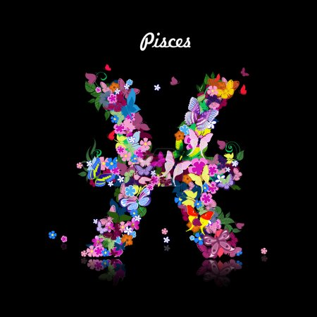Illustration for Pattern with butterflies, cute zodiac sign pisces - Royalty Free Image