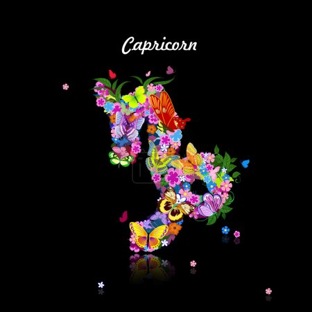 Illustration for Pattern with butterflies, cute zodiac sign - capricorn - Royalty Free Image